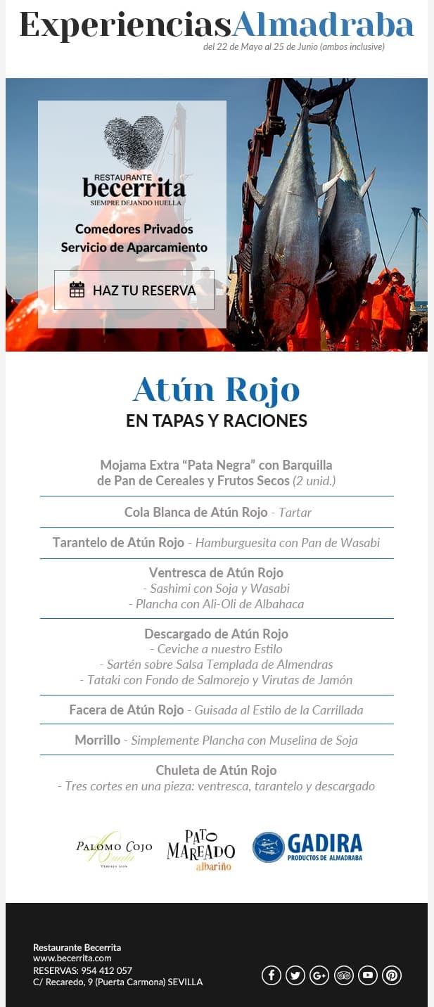 Experiencias de Almadraba 2017. El mejor Atún Rojo en Restaurante Becerrita Sevilla